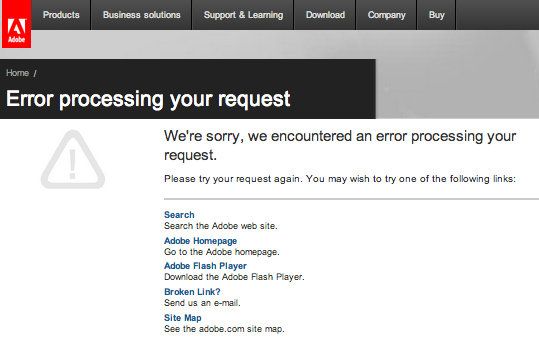 adobe tecnical support error message